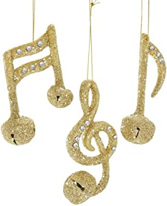 Party Explosions Glittery Music Notes with Bells and Jewels Hanging Christmas Ornaments - Set of 3