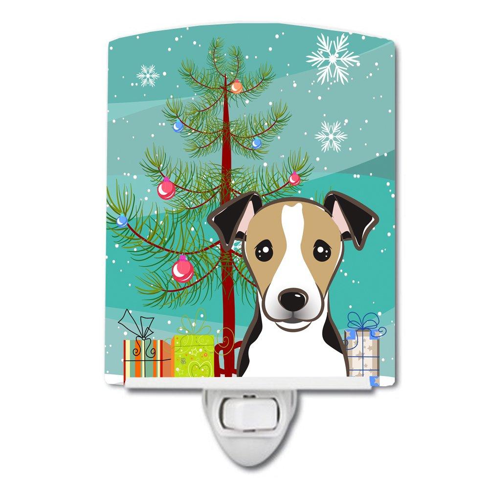 Carolines Treasures Christmas Tree and Jack Russell Terrier Ceramic Night Light 6x4 Multicolor