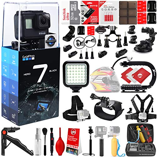 GoPro HERO7 Black 4K 12MP Digital Camcorder w/ 32GB - 40PC Sports Action Bundle (32GB Micro SD Card, Suction Cup Window Mount, High Power LED Light, X-Grip Stabilizing Handle & More)