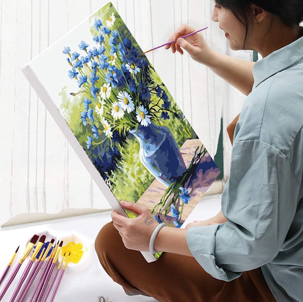 MAMUNU 10 Pieces Artist Paint Brushes Set for Acrylic Watercolor Oil Painting Gouache Painting Purple