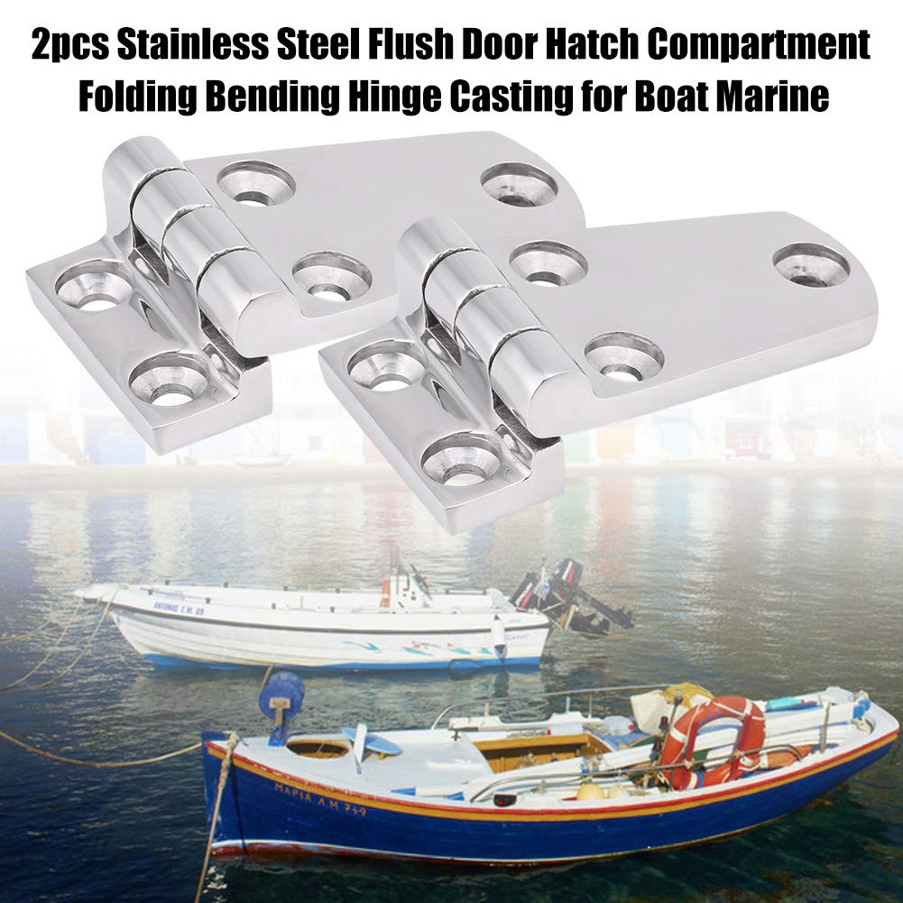 Acouto 2pcs 316 Stainless Steel Marine Boat Yacht Flush Door Hatch Compartment Folding Bending Hinge Casting