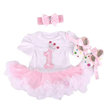 Marlegard Baby Girls 3PCs 1st Birthday Tutu Dress With Headband Shoes 12M9