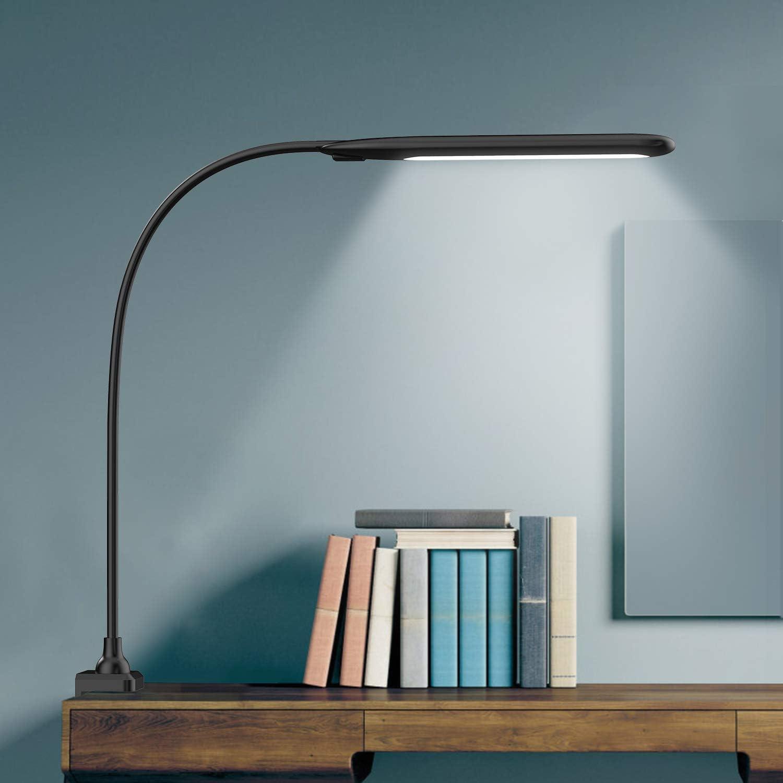 Lámpara Escritorio LED Hokone Flexo de Escritorio 9W Lámpara de Lectura 3 * 10 Modos de Brillo Lámpara de Mesa Lámpara de Oficina para Leer Studiar Negro