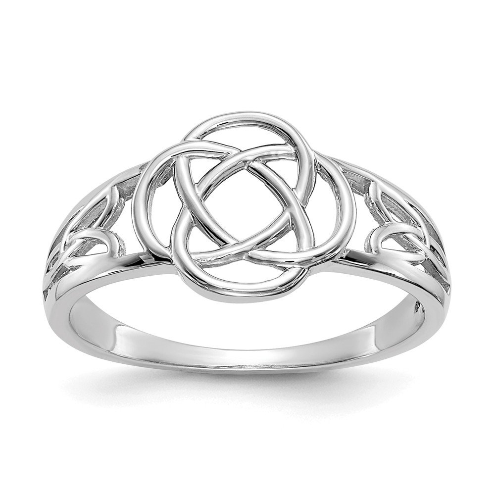 14k White Gold Ladies Irish Claddagh Celtic Knot Band Ring Size 7.00 Fine Jewelry Gifts For Women For Her