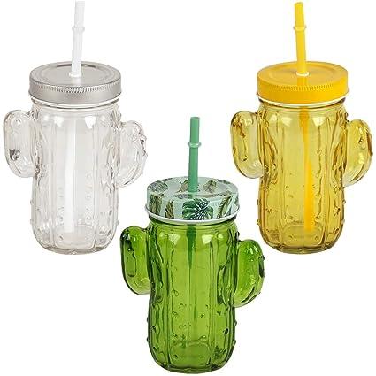 Promobo – Set di 3 Mason Jar bicchiere Barattolo con paglia Design Cactus