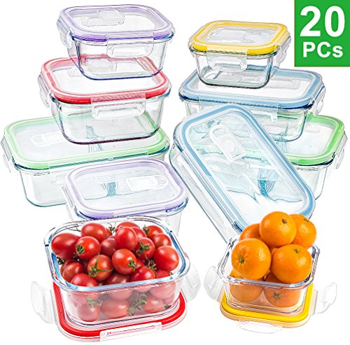 Jalousie 20 Pieces Borosilicate Glass Food Storage Meal Saver Containers with vented Locking Lids - BPA Free Airtight Oven Freezer Dishwasher and Microwave Safe Airtight Reusable Food Container ()