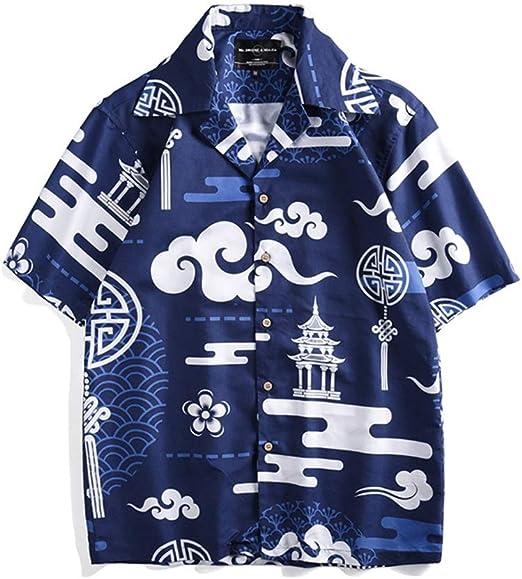 MIAOMIAOWANG Camisas de Vestir para Hombre Camisas de Flores Hawaianas para Hombre Camisa con Botones de Manga Corta con Estampado Suelto de Aloha Leisure Camisa Casual (Color : Azul, tamaño : Metro):