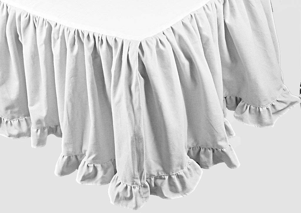 RAINBOWLINEN Stylish White Solid Egyptian Cotton Split Corner Gather Ruffle Bed Skirt Bottom Edge Ruffle 600 TC California King (72'' x 84'') Size 16 INCH Drop Length
