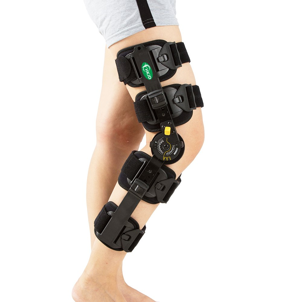 Hinged Knee Patella Brace Support Stabilizer Pad Belt Band Strap Orthosis Splint Wrap Compression Sleeve Immobilizer Guard Protector ROM(range of motion) Adjustable Medical Orthopedic Post-Op by HKJD
