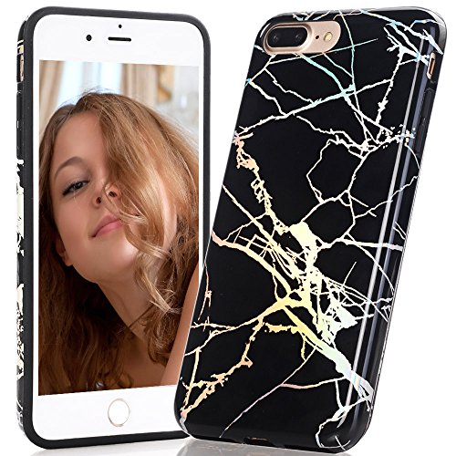 BAISRKE Shiny Laser Style Black Marble Design Bumper TPU Soft Rubber Silicone Cover Phone Case Compatible with iPhone 7 Plus/iPhone 8 Plus [5.5 inch]