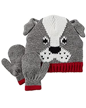 Carter's Baby Boys' Knit Hat & Mitten Set (0-9 Months, Grey Dog)