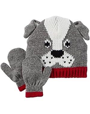 Carter's Baby Boys' Knit Hat & Mitten Set (0-9 Months, Grey Dog)
