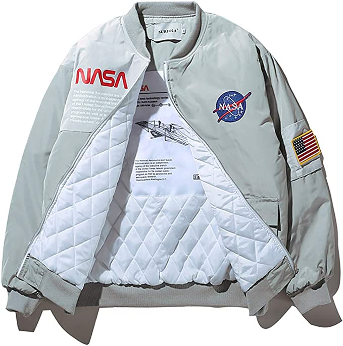 80s Men's Clothing | Shirts, Jeans, Jackets for Guys Wildswan Men Biker Bomber Jacket NASA MA-1 Military Flight Jacket Long-Sleeve Air Force Moto Street Coat Winter B4034 $58.99 AT vintagedancer.com
