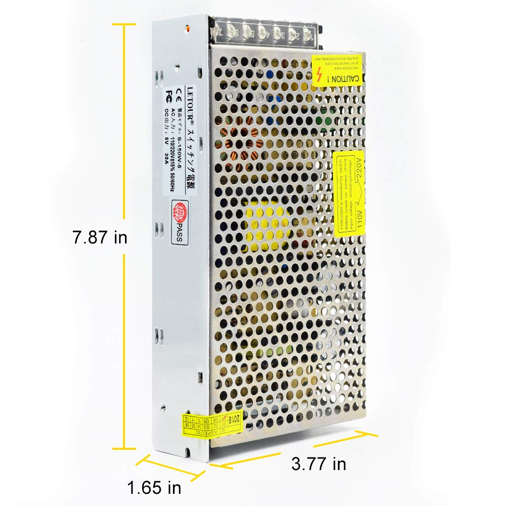 Letour Dc 5v 30a Power Supply 150w Ac 110v 220v How To Decipher The Wiring Schematic Of A 110220v Converter 5volt 150 Watt Adapter Led For Lightingled Stripcctv