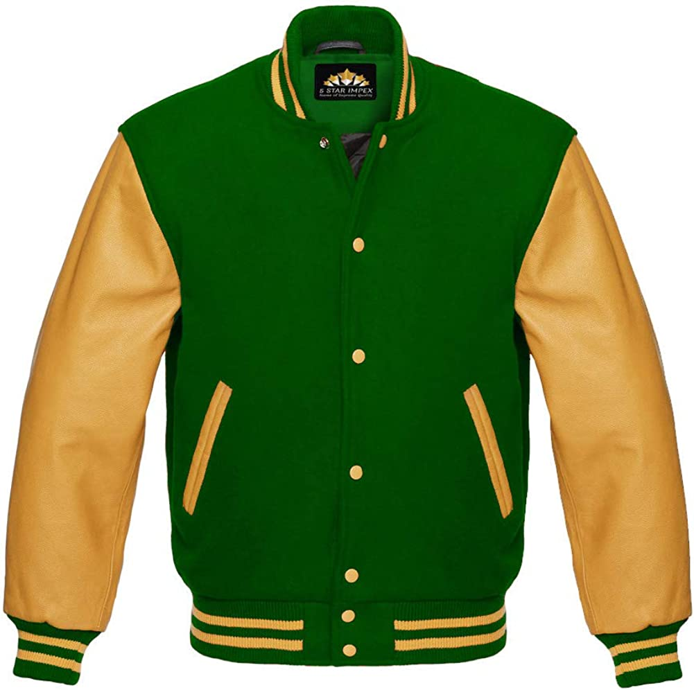 Varsity Hoodie Jacket for Baseball Letterman Bomber School of Yellow Wool and Genuine White Leather Sleeves