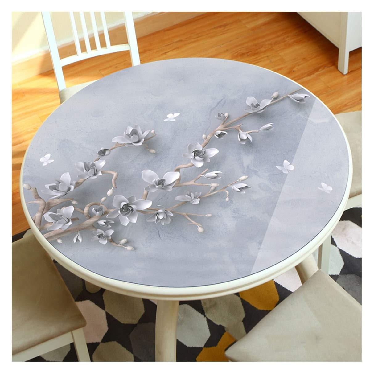 D 150cm LLH Nappe ronde de PVC, salon 3D à la maison imprihommet la grande nappe ronde imperméable à l'huile de nappe en plastique de table basse ZHUOB (Couleur   E, taille   200cm)