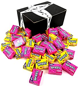 Wonka Fun Size Nerds 2-Flavor Variety: One 1 lb Bag of Assorted Lemonade Wild Cherry & Seriously Strawberry in a BlackTie Box