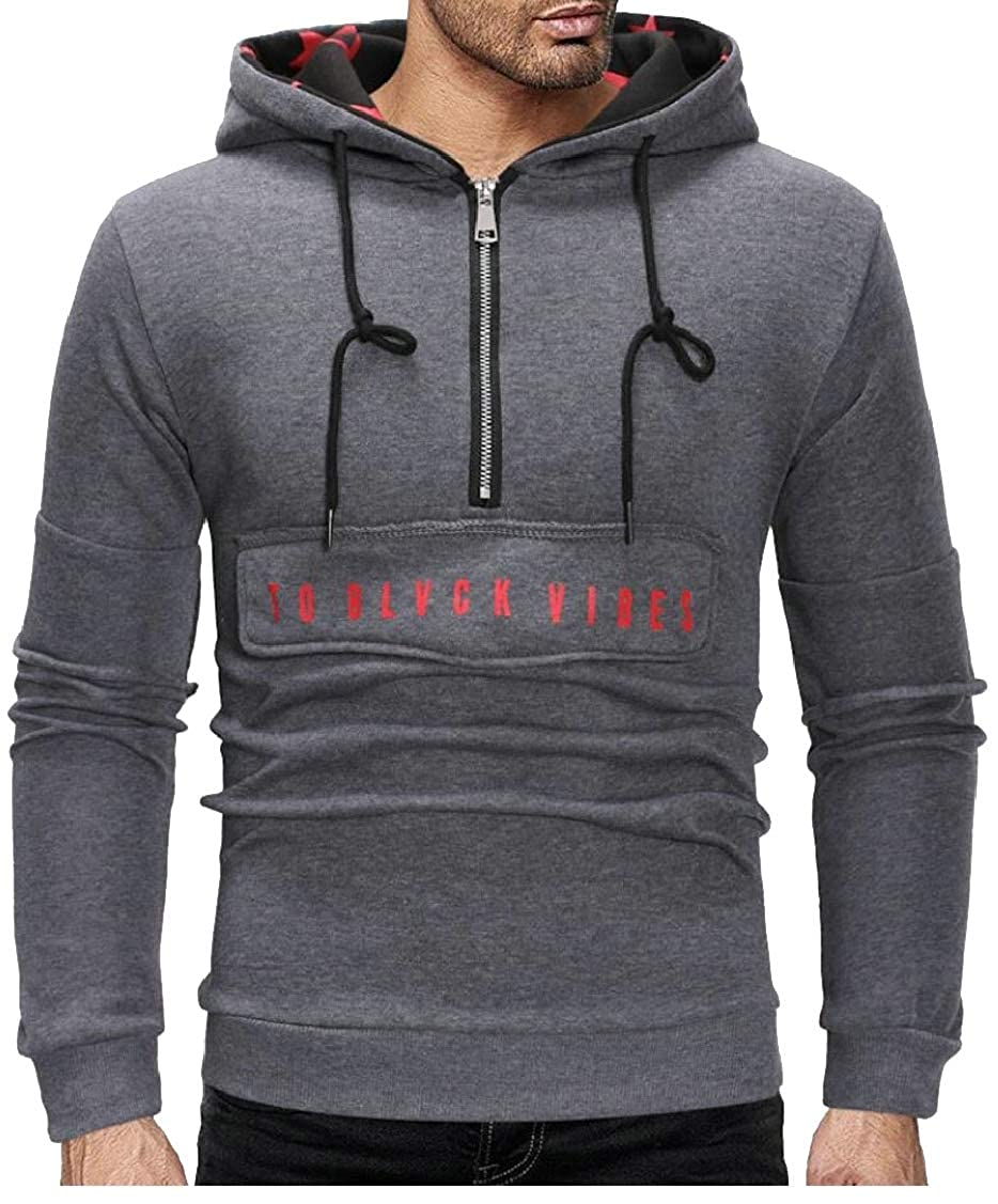 XQS Mens Letter Slim Fit Zipper Hoodies Fashion Hooded Pullover Sweatshirts