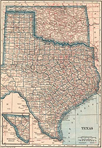 1921 Antique Texas State Map Original Vintage Map of Texas and Oklahoma Not a Reprint Home Office Decor Gallery Wall Art #1427 ()