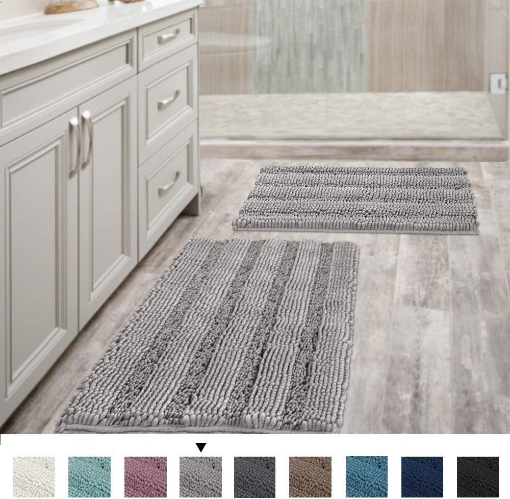 "H.VERSAILTEX Non Slip Thick Shaggy Chenille Bathroom Rugs Soft Bath Mats for Bathroom Extra Absorbent Floor Mats Bath Rugs Set for Kitchen/Living Room (Set of 2, 20"" x 32""/17"" x 24"", Dove)"