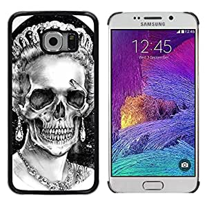 Plastic Shell Protective Case Cover || Samsung Galaxy S6 EDGE SM-G925 || Queen Crown White Black Skull Dead @XPTECH