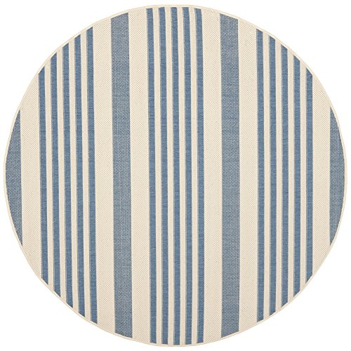 Safavieh Courtyard Collection CY6062-233 Beige and Blue Indoor/Outdoor Round Area Rug (5'3
