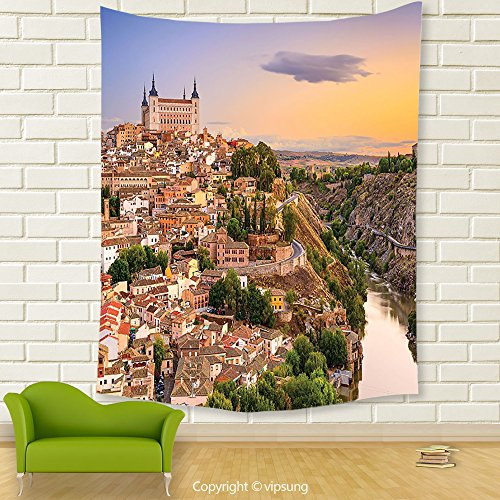 Vipsung House Decor Tapestry_Wanderlust Decor Collection Toledo Spain Old City Over The Tagus River Downtown Castle Architectural Ancient Picture Ivory_Wall Hanging For Bedroom Living Room (Halloween City Toledo)