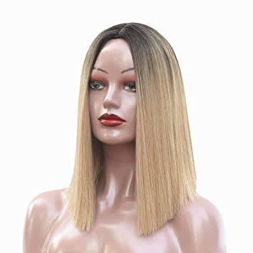 Sinobex Women s Ombre 2 Tones Blonde Bob Wig 14 Inches Synthetic Straight  Middle Part Wigs For 10c806182ac6