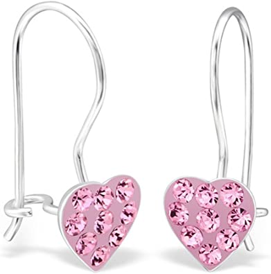Girls Rose Colorful Ear Studs 925 Sterling Silver