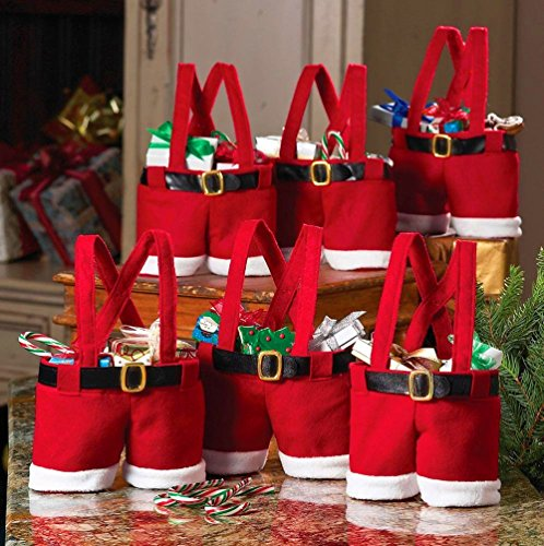 Santa Wine Bottle Holder - Homecube Large Size Christmas Candy Bag Wine Holders Santa Pants Gift and Treat Bags with Handle Portable Candy Gift Baskets Gift Wrap for Wedding, Pack of 6 (10