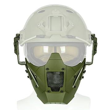 Casco táctico con máscara de malla de media cara, protección ajustable para Airsoft Paintball CS