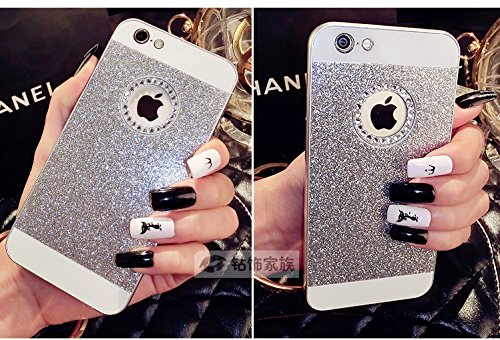 Vandot Diamant Strass Housse Coque Case Cover PC le Plastique Etui pour Apple Iphone 5 5S Protection Coque Haute quality Fashion Design Hard Back Bing Couvrir Couverture - Argent Silver