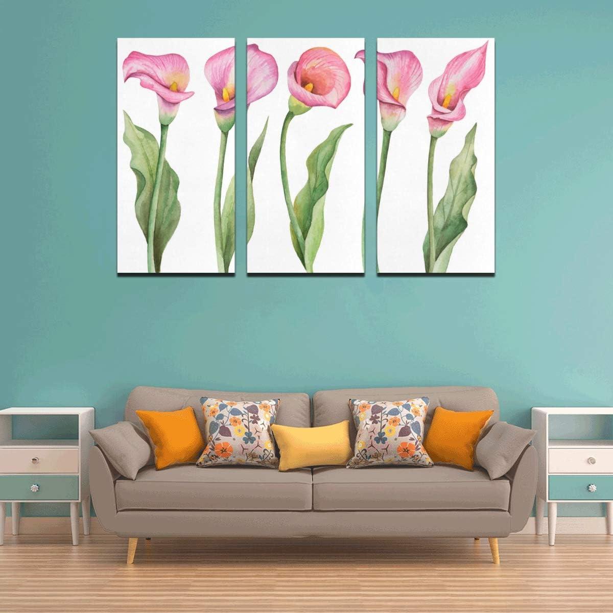LIANPEN 3 Panel Beautiful Wall Art Elegant Fashionable Calla Lily Art Mirror Wall Decor Printing On Canvas Decorative Kitchen Wall Art for Home Living Room Bedroom Bathroom Wall Decor Posters