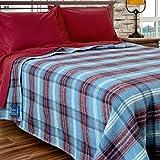 Poyet Motte Chevreuse Heavyweight Wool Blend Oversized Blanket, Machine Washable (Berry Plaid, Full/Queen Size)