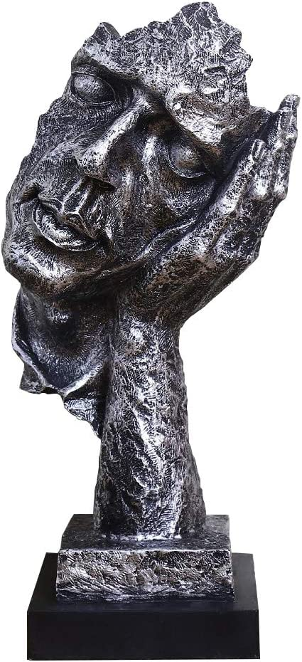 Abstract and Creative Desk Decorations The Thinker Statue, Hand & Face Statues and Sculptures for Home Living Room Decor (No Hear Silver)
