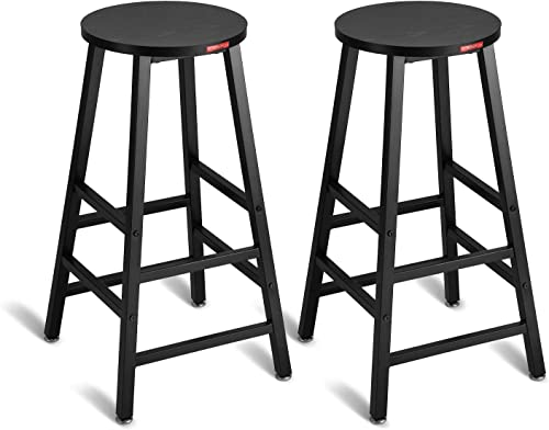 Mr IRONSTONE Pub Height Bar Stools Set of 2 , 27.7 Pub Dining Height Stools Bistro Table Chairs Black