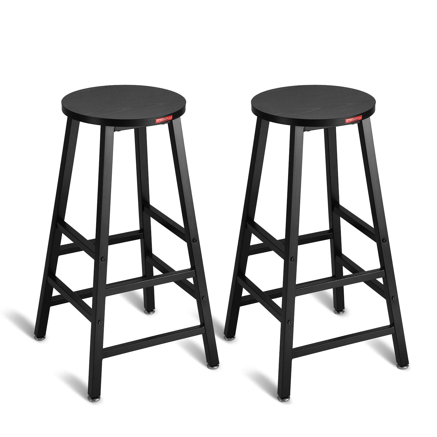 Mr IRONSTONE Pub Height Bar Stools Set of 2 , 27.7'' Pub Dining Height Stools Bistro Table Chairs (Black) by Mr IRONSTONE