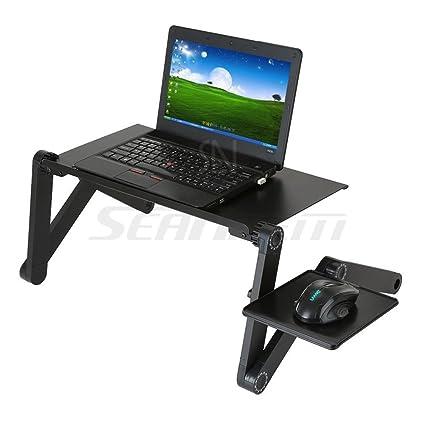 360 ° plegable ordenador portátil bandeja de cama mesa (con ventilador) ajustable multifuncional portátil soporte de ...