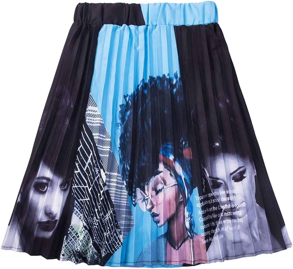 Women's Vintage Graffiti Cartoon Printed A-line Pleated Swing Midi Skirts
