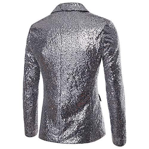 Fit Argent Blazer De Festival Hommes Manteau Mariage Slim Veste Élégant Paillettes Costume 5qwXn6OPxn