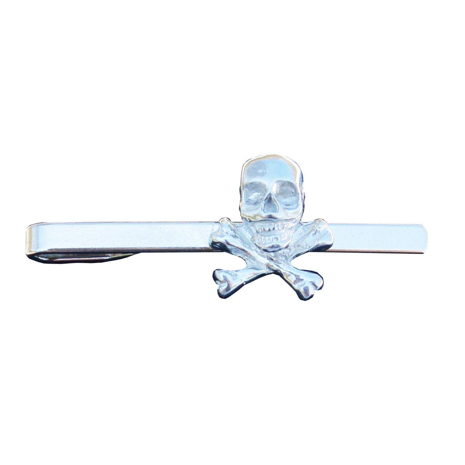 Skull and Crossbones Pewter Tie Clip (Slide/Bar), Handcast by William Sturt