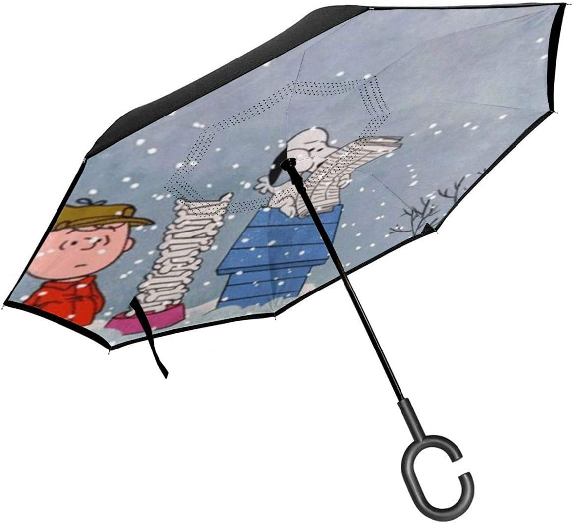 Snoopy Christmas Reverse Windproof Umbrella UV Protection Upside Down Umbrella Double Layer Inverted Umbrella With C-Shaped Handle
