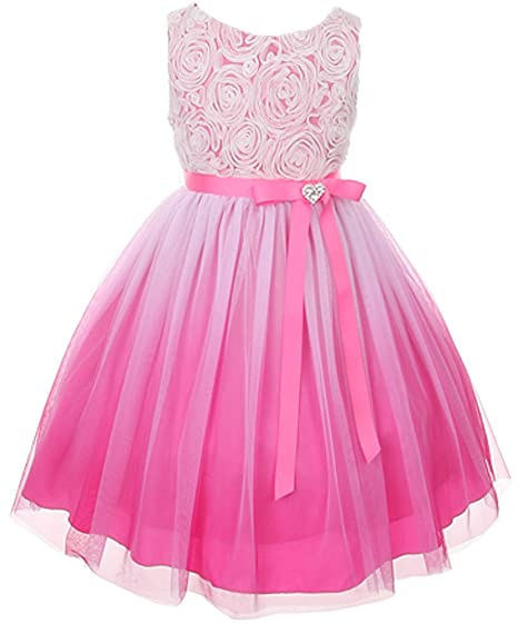 f1884b4912a Kids Dream Tulle Rosette Spring Easter Flower Girl Dress In Ombre ...