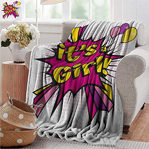 XavieraDoherty Faux Fur Throw Blanket,Gender Reveal,Pop Art Style Its A Girl Quote Comic Strip with Balloons Print,Pink Purple and Yellow,Soft Fabric for Couch Sofa Easy Care 35