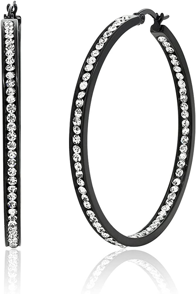 Gem Stone King 2 Inch Stunning Stainless Steel Black High Shine Inside-Out Hoop Earrings For Women With CZ