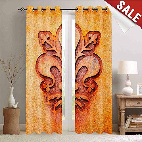 Hengshu Fleur De Lis Waterproof Window Curtain Lily Flower Symbol on Plate Floral Design Royal Arms France Sign Cultural Print Decorative Curtains for Living Room W108 x L108 Inch Orange