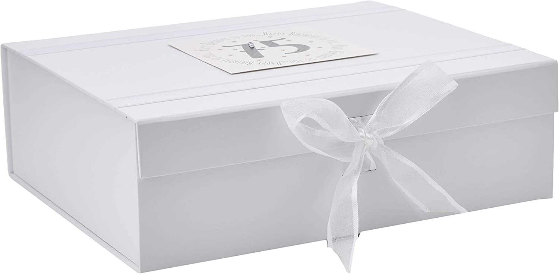 MTGA75X White Cotton Cards Happy Birthday to You 75 Large Keepsake Box