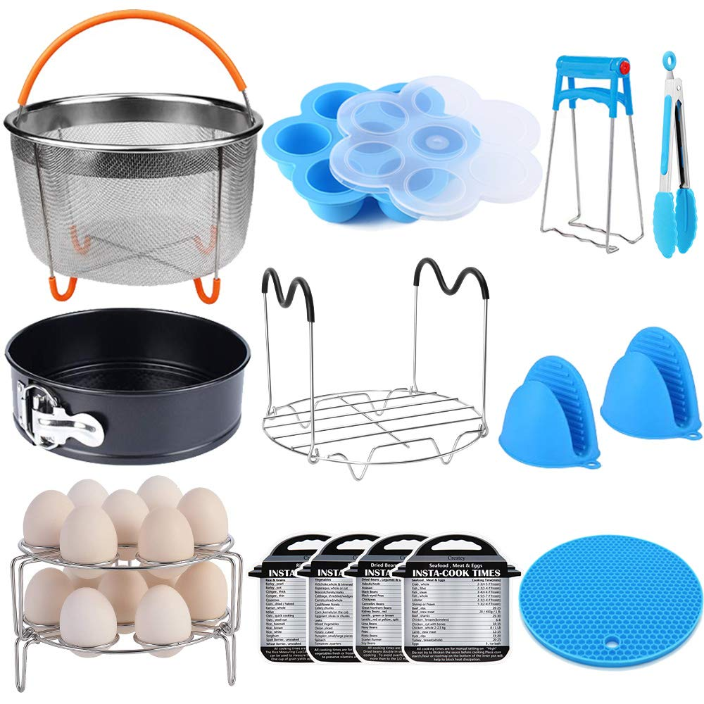 15 Pieces Pressure Cooker Accessories Set Compatible with Instant Pot Accessories 6 qt 8 Quart - Steamer Basket, Springform Pan, Stackable Egg Steamer Rack, Egg Bites Mold, Kitchen Tongs & More