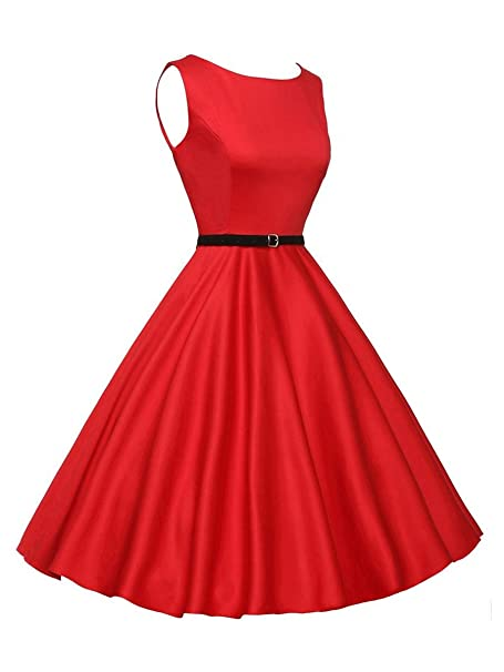 Vestidos Años 50 Mujer Vintage Fiesta Verano Elegante Vestido Retro Rockabilly 1950S Cóctel Audrey Hepburn Para Señoras A-Line Swing Party Noche Con ...