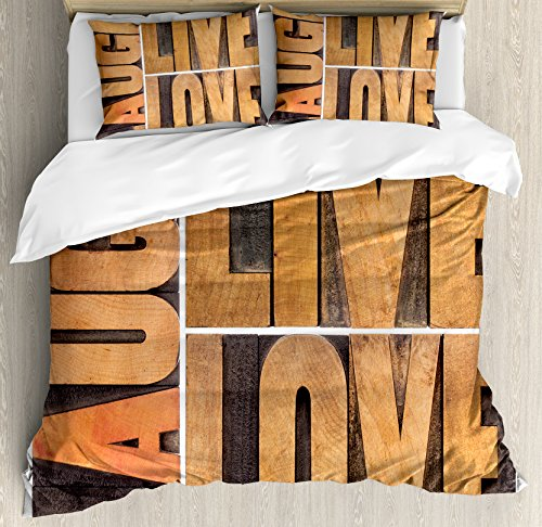 Live Laugh Love Decor Queen Size Duvet Cover Set by Ambesonne, Macro Calligraphy Life Message Inspirational Digital Graphic, Decorative 3 Piece Bedding Set with 2 Pillow Shams, Light Caramel Umber by Ambesonne